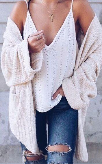 rips + cami + knit cardigan