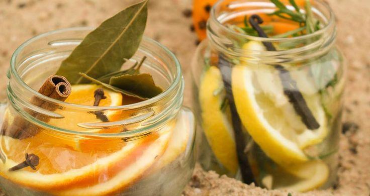 1) vanilka, citron, rozmarýn. 2) pomeranč, hřebíček, bobkový list, skořice. Dát do vody a v uavřené sklenici na 2 týdny do lednice. Pak otevřít a zahřívat.