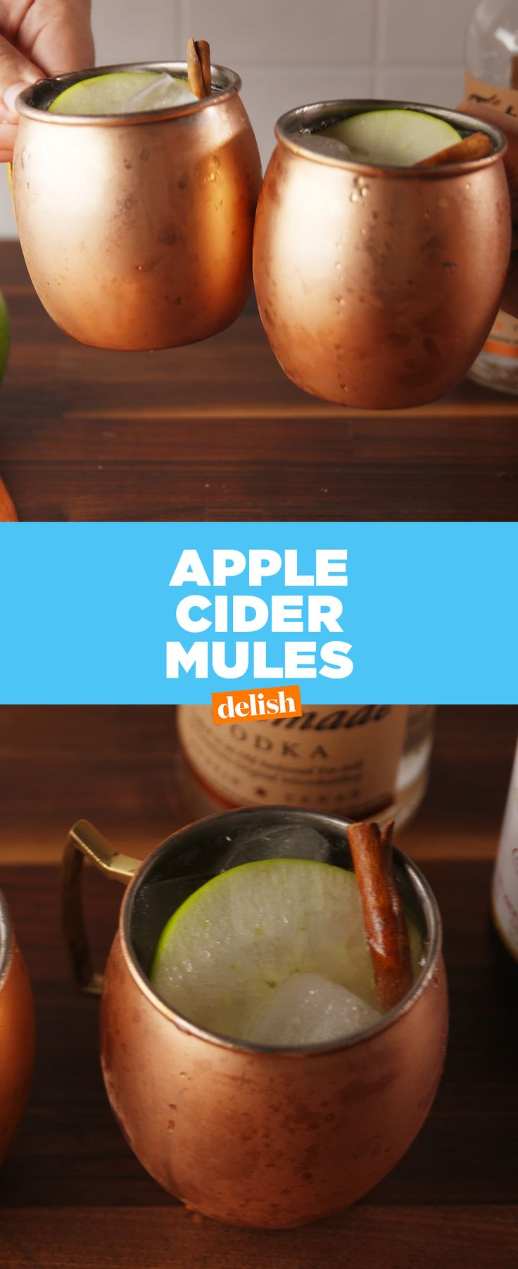 Moscow Mules + FALL = Apple Cider Mules. Get the recipe from Delish.com.