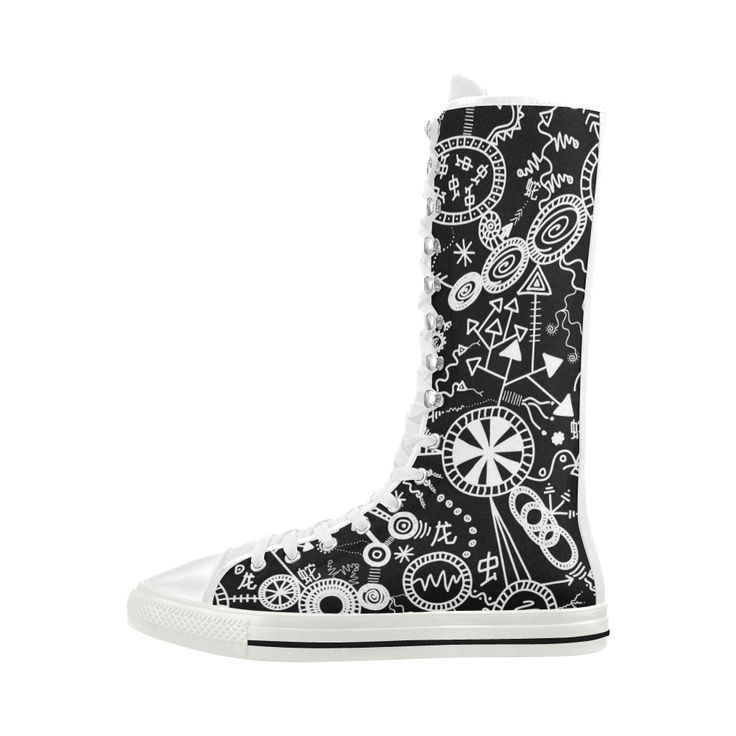 Wheels, Snakes and Worms Black and White Doodle Canvas Long Boots For Women Model 7013H