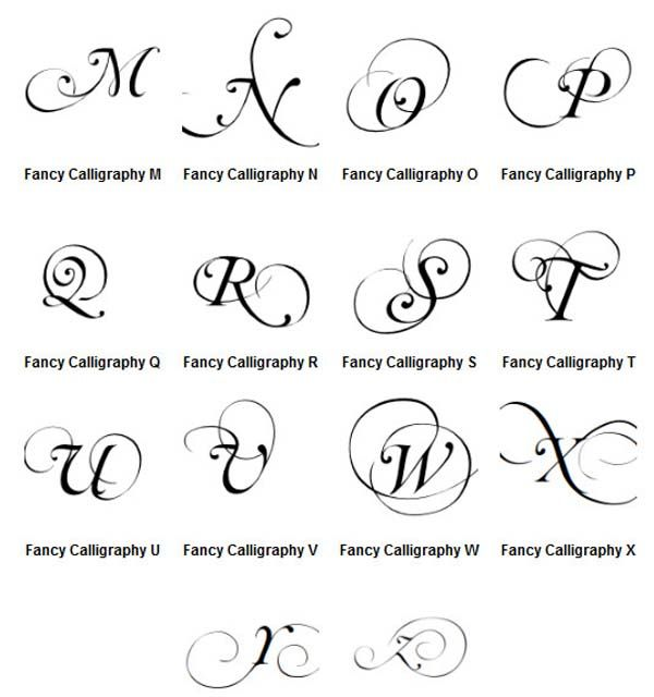 Printing different letters graffiti letters a z fancy Calligraphy alphabet cursive