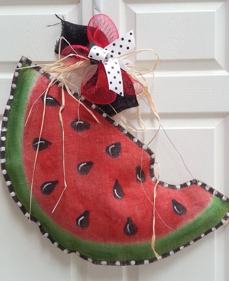 Door Hanger Handpainted Burlap Watermelon LARGE Size. $35.00, via Etsy.