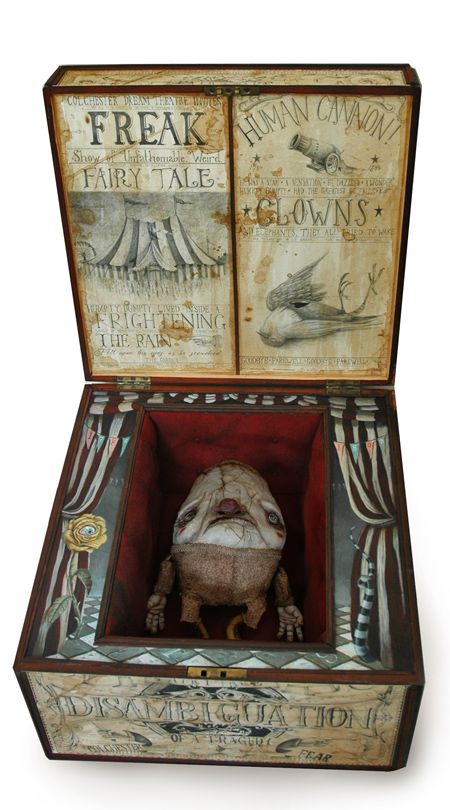 "Ideas/context for ""Box of Mysteries"" project. The White Rabbit, The Cheshire Cat, and Humpty Dumpty Sculptures by Mark James Porter:"
