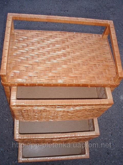 Комод на 3 ящика, плетенный из лозы