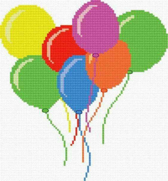 Birthday balloons cross stitch.