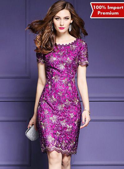 Dress Brukat Import Premium Elegant Style 606PR  | shopasista.com | Distributor baju import | distributor baju korea | grosir baju korea | grosir baju import | supplier baju korea tangan pertama | importir baju korea
