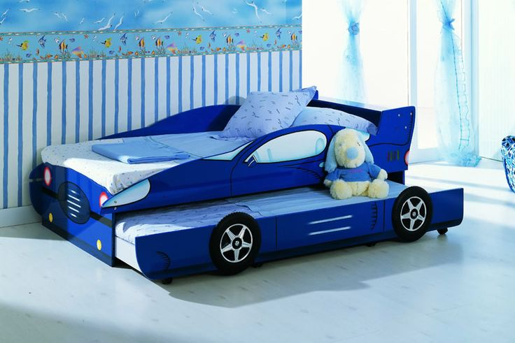KIDS BLUE SINGLE RACE CAR TRUNDLE BED RACING BOYS CAR BED