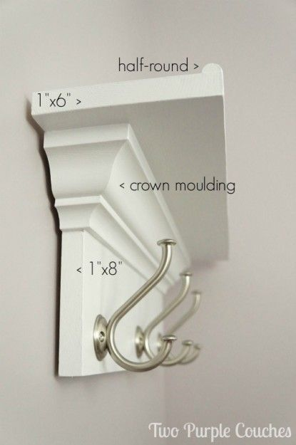 Materials needed for DIY shelf with hooks. via www.twopurplecouches.com