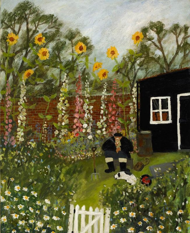 Gary Bunt   (25) Hollyhocks: This old boy Loves his garden And when nobody's about He sits on a box By his hollyhocks Then he rolls himself a snout