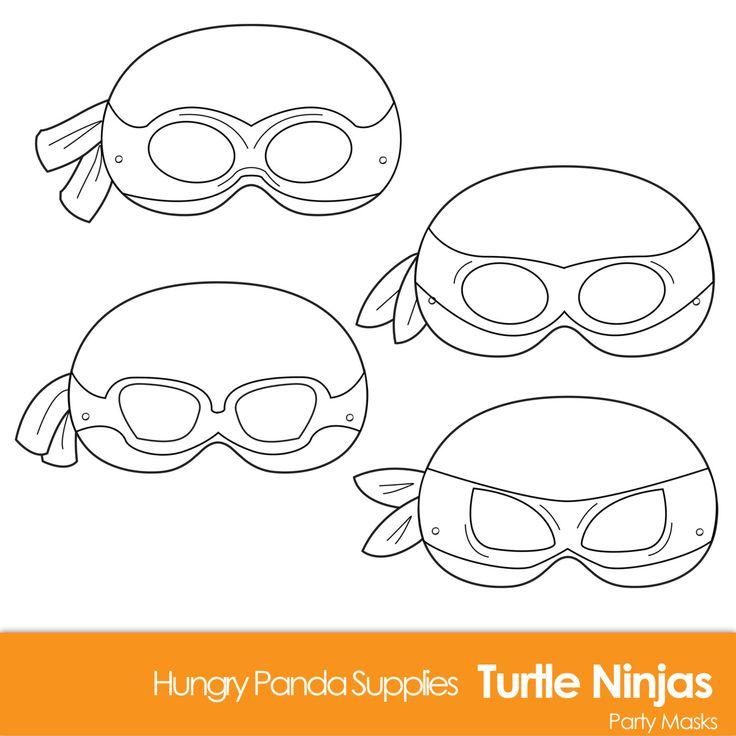 Turtle Printable Coloring Masks turtle mask por HungryPandaSupplies