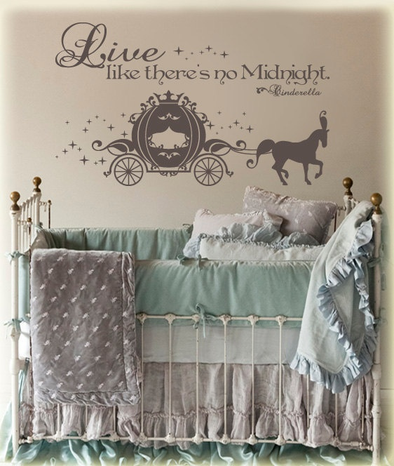 "CINDERELLA CARRIAGE elegant silhouette and Live like there's no Midnight vinyl wall decor-measures 44""long X 27""high (Choose your own COLOR)"
