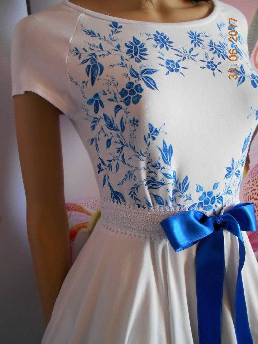 FLORAL FOLK - šaty ľudové maľované s kruhovou sukňou a vačkami