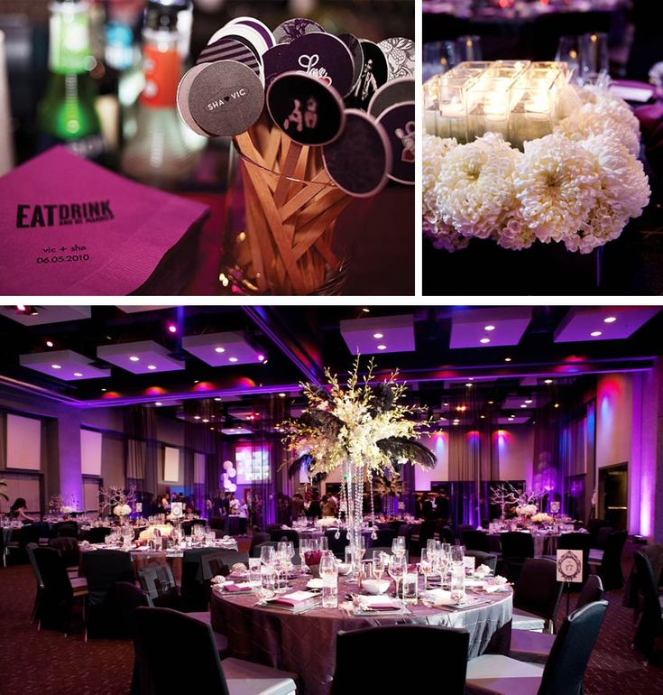 Hard Rock Hotel San Diego Wedding Modernwedding Purple Decor Modern Ballroom