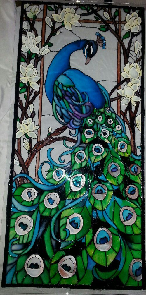 Peacock painting on glass - photo#6