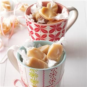 """Soft 'n' Chewy Caramels Recipe- Recipes  This candy is a """"must"""" at our house for Christmas. We raised four children on nutritious meals made of simple ingredients. Now I enjoy making special treats like this for the grandkids.—Darlene Edinger, Turtle Lake, North Dakota"""