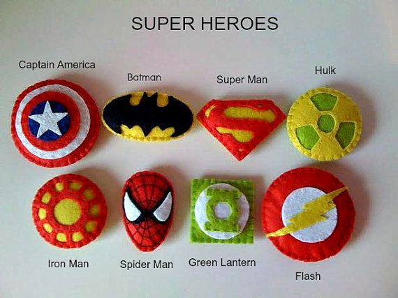 Superheroe keychains  set of 6 Superheroe party favors by twinsandcrafts