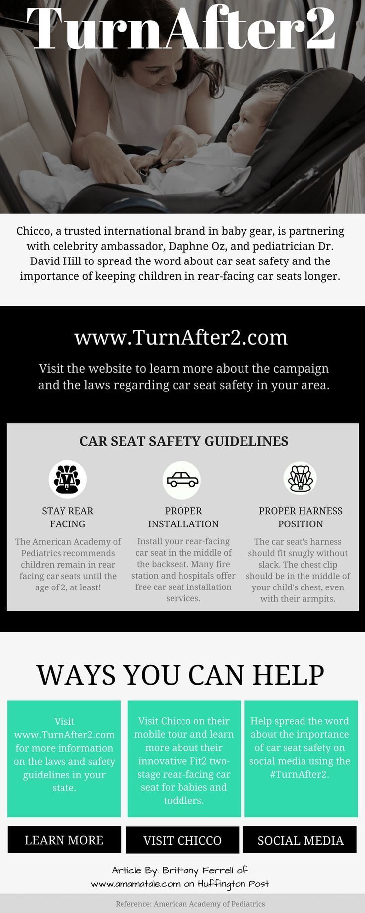 Turn After 2 Campaign | Car Seat Safety Guidelines and Tips | Daphne Oz Celebrity Mom Ambassador | Chicco Fit2 Car Seat | From: www.amamatale.com and Huffington Post