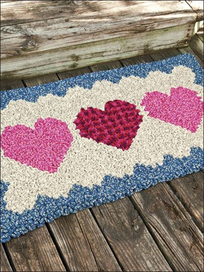 Wiggly Hearts Rug Crochet Pattern Download from e-PatternsCentral... -- Wiggly crochet in our country-warm rug forms comfy carpeting for the feet.