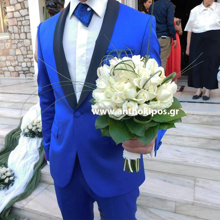 Μπουκέτο Γάμου με λευκά τριαντάφυλλα και φυλλώματα