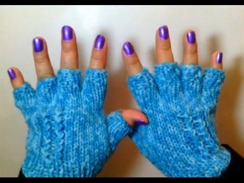 Como hacer unos Lindos Guantes de Invierno / How to Knit Half Finger Gloves - YouTube