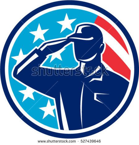 Illustration of an american soldier serviceman silhouette saluting set inside circle with usa flag stars and stripes in the background done in retro style.   #memorialday #silhouette #illustration