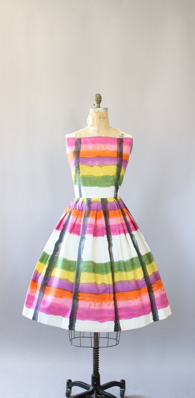 Vintage 50 s AMAZING kleurrijke penseelstreek gestreepte katoenen jurk. Volledige rok. Metalen rits op de rug. Crinoline gedragen onder rok in