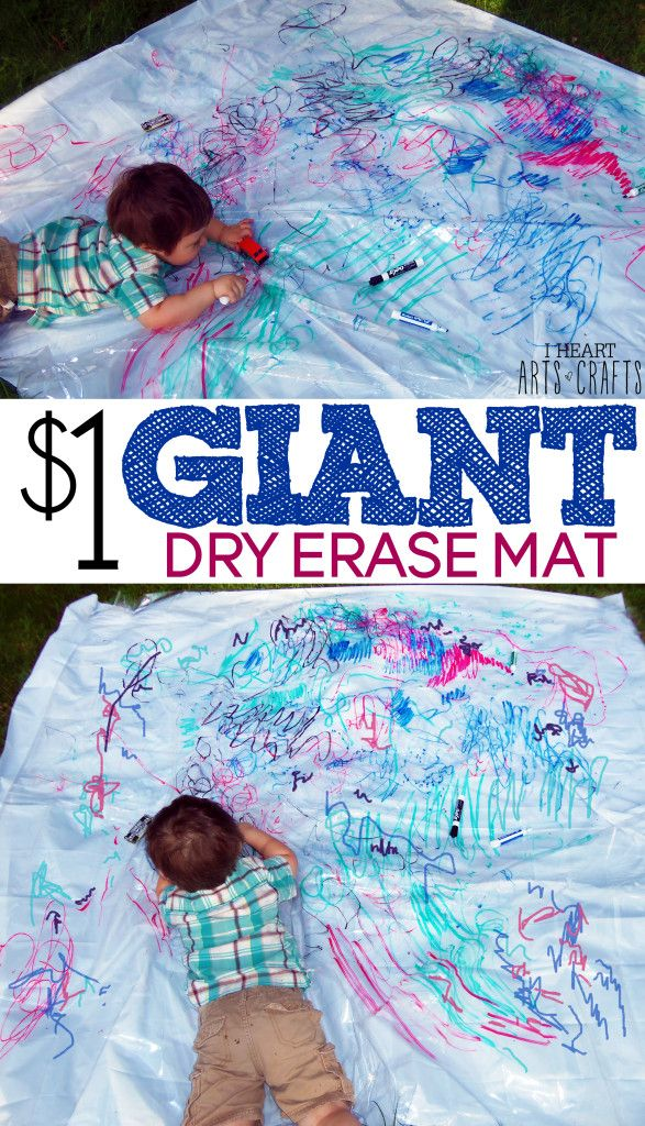 $1 Giant Dry Erase Mat - Makes a great indoor rainy day activity and it's mess free!