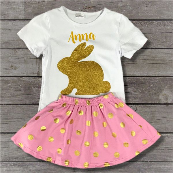 16 best custom easter tees outfits images on pinterest girl easter girl outfit gold bunny shirt set toddler girl clothes baby girl outfit negle Image collections