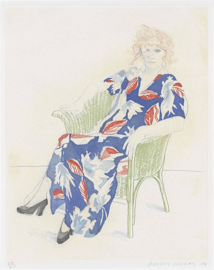"huariqueje: "" Celia in a Wicker Chair - David Hockney 1974 British b. 1937- 5-color softground etching on Rives BFK paper """