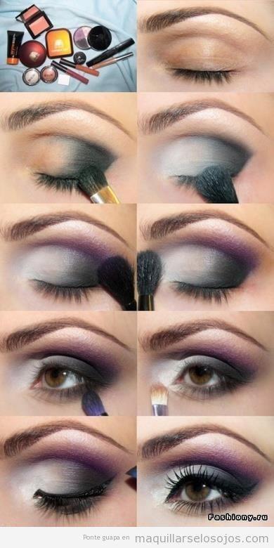 Tutorial maquillaje de ojos en blanco, negro y morado paso a paso