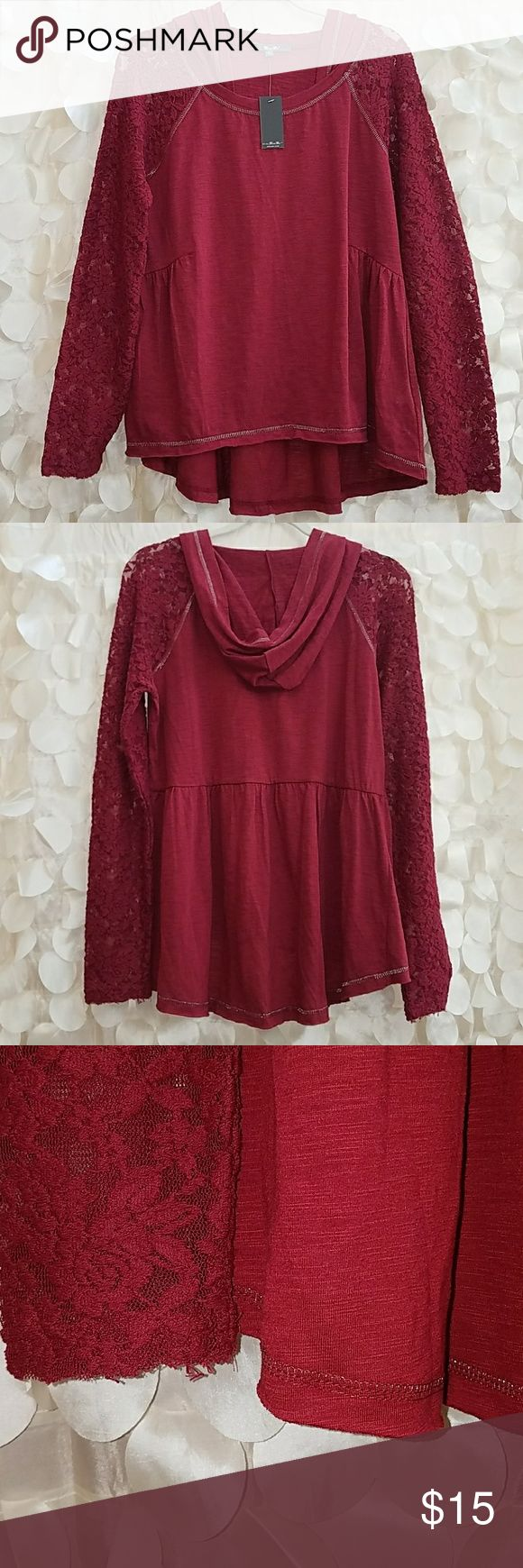 Miss Me, hi low, hooded top with lace sleeves Brand new, size Medium, Miss Me brand burgundy top with hi low hem, lace sleeves, with hood. Top has silver stiching with rough cut edges and and pleating at sides and back. Light weight, very cute! Can be worn dressed up or casual. Miss Me Tops