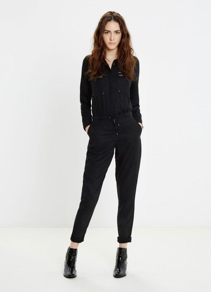 COMBI-PANTALON FLUIDE NOIR MILITAIRE RITA Pepe Jeans prix Combinaison Femme Pepe Jeans London 140.00 €