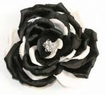 Black and White Handmade silk flower  hair piece or brooch
