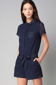 Naf Naf - Combis / Short - Combi-short marine broderie anglaise English