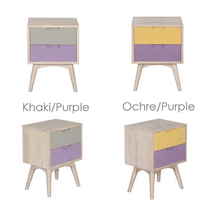 Pastel look bedside table - Χειροποίητο κομοδίνο από μασίφ ξύλο μάνγκο  Διαθέτει 2 συρτάρια (με οδηγούς)