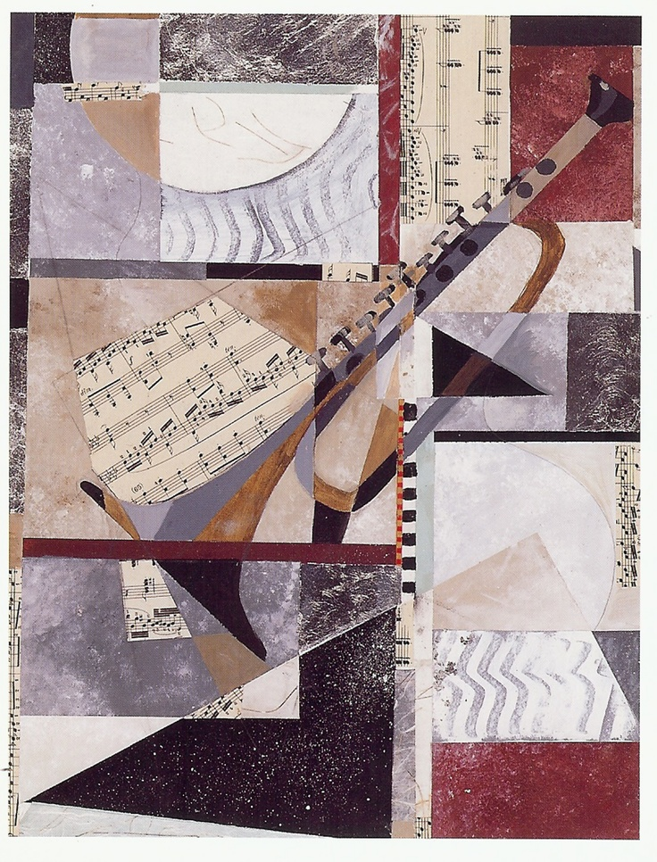 "#painting#cubism#abstract#contemporary#artist""Saturday Jazz (trumpet)"" 32""x40"" original collage with silver leaf on paper.  Sold."