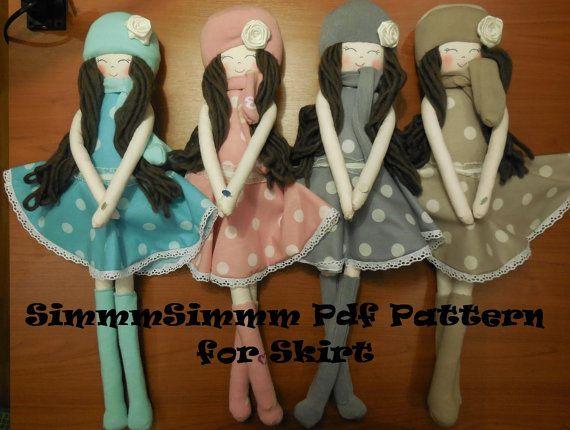PATTERN   Skirt  the  doll skirt  handmadesoft doll por simmmsimmm