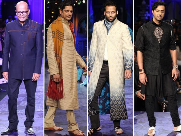 What had everyone smiling even more was watching designer Narendra Kumar (who also showcased his collection at this year's Bridal Week) walk the ramp in a grey bandhgala with abstract embroidery. Then there was DJ Aqeel Ali in a beige sherwani and shawl, Bikram Saluja in a shaded white grey sherwani and music composer Salim Merchant strolled down in a waistcoat and black embroidered kurta.