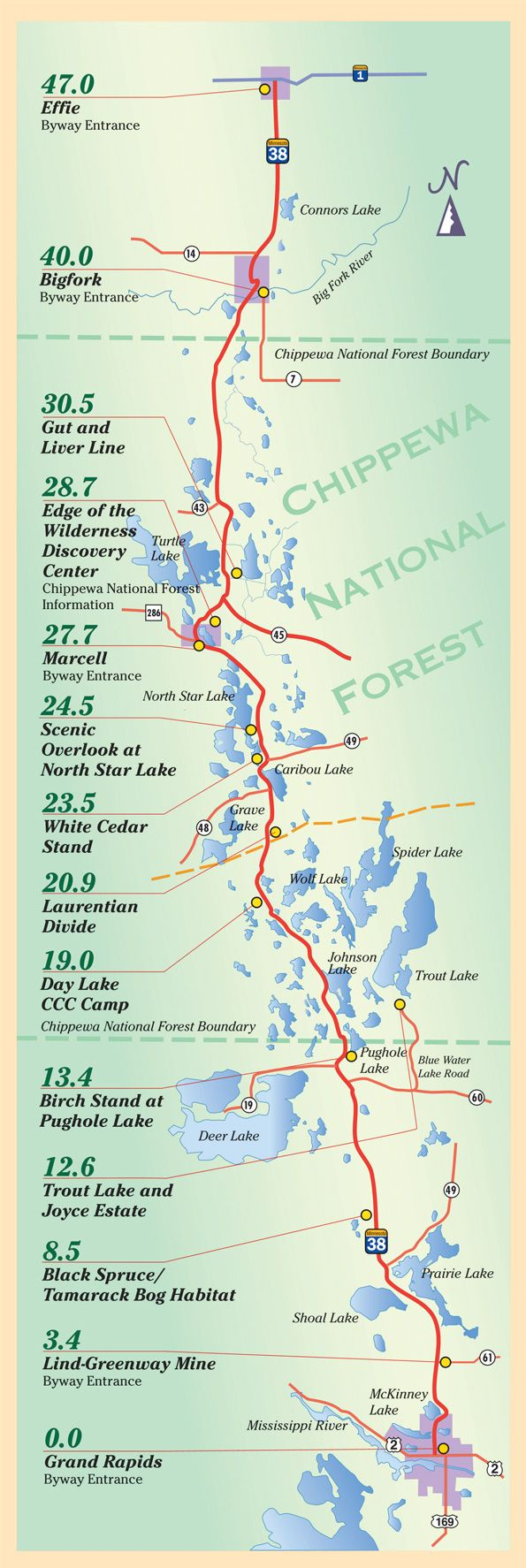 Edge of the Wilderness Scenic Byway - From Grand Rapids, MN North to Effie, MN