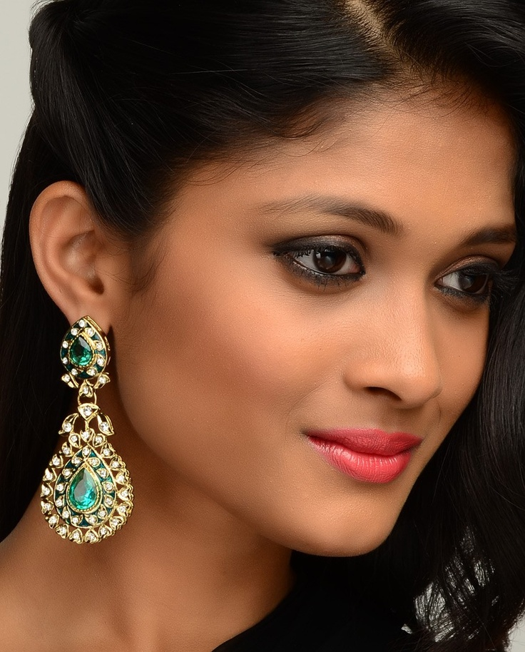 Traditional Earrings with Crystal Stones  by Nidhaan