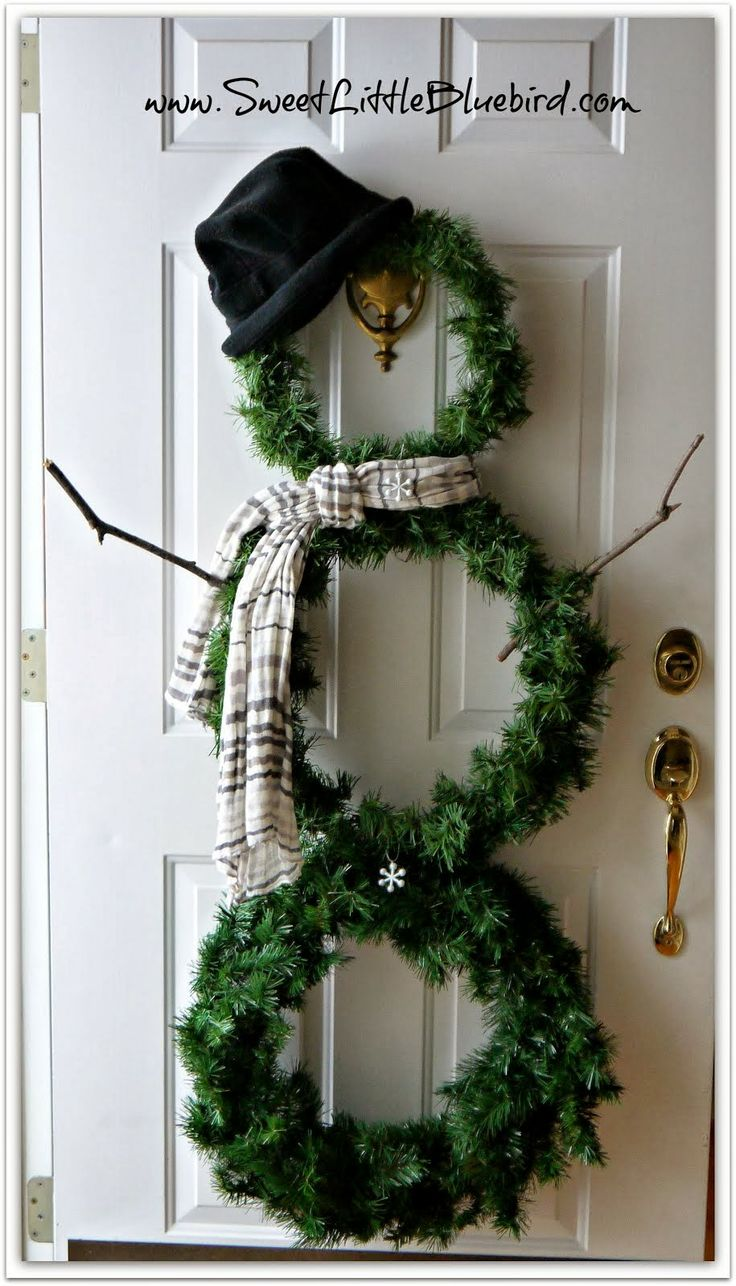 DIY Snowman Wreath @ sweetlittlebluebird.com