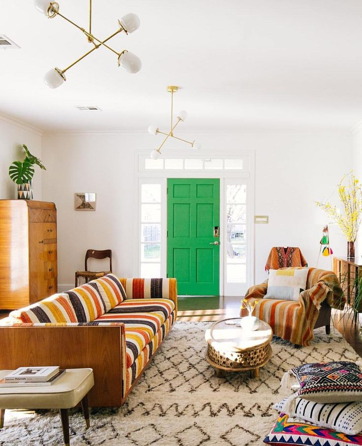 Pops Of Green + Moroccan Rug + Colorful Textiles | Click To Shop The Rug |