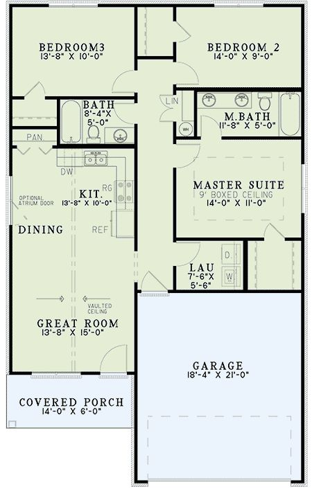 Starter Home Plan With Vaulted Ceilings   60634ND | Architectural Designs   House  Plans