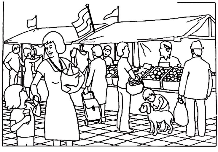 kleurplaat markt