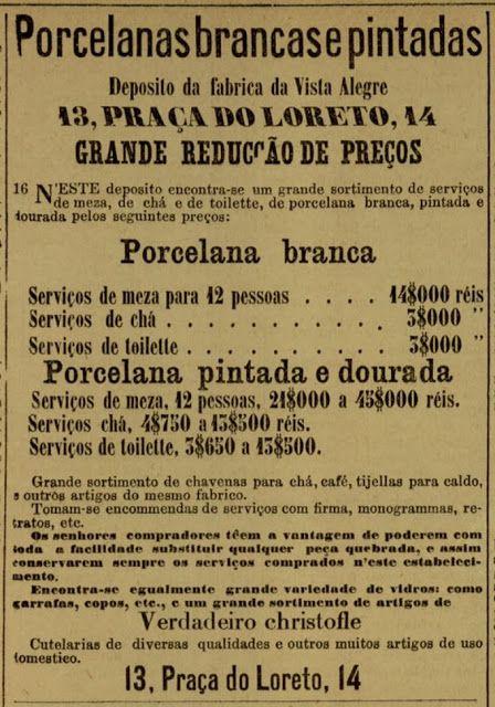 Anúncio do Diário Illustrado à Vista Alegre de 16 de Dezembro de 1880  (arq. priv. | Histórias com História: PORCELANA DA VISTA ALEGRE