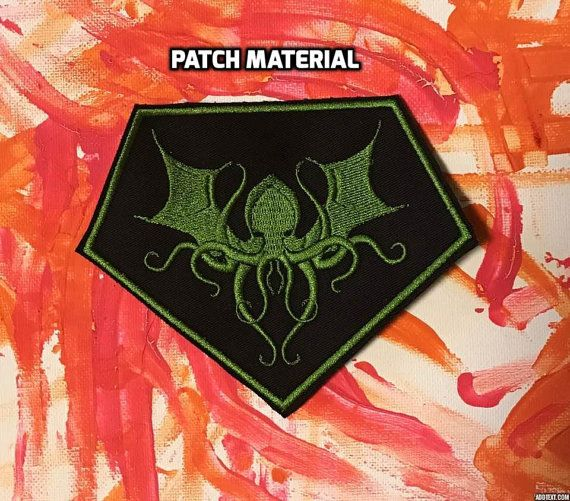 Cthulhu on black felt OR black patch material - your choice!  Ive only sold this patch on black felt up to now (January 2017) but figured Id also add a black patch material option as well..... I may even do it on gray patch material with a different shade of green - you never know! Iron or sew on - your choice!  Measures roughly 4 x 5 inches in size  Any questions, please let me know