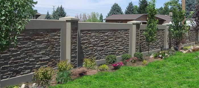 Concrete Block Fence   StoneTree® Concrete Fence System ... on Backyard Brick Wall Ideas id=80580
