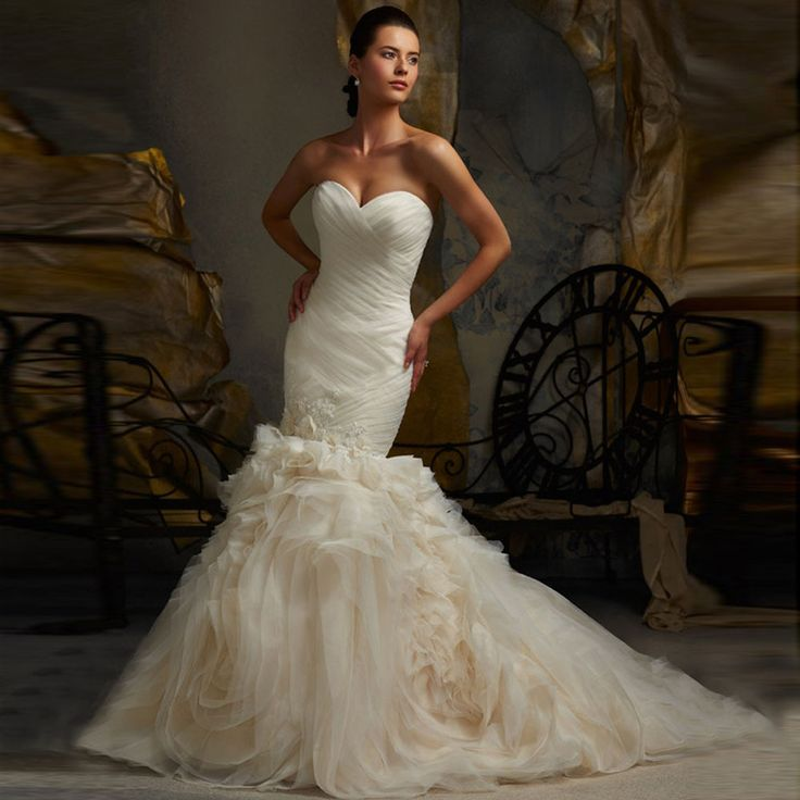 Alice 2017 MOST POPULAR VOILE SWEETHEART WRAP MERMAID WEDDING DRESSES IVORY BRIDAL DRESS WITH REMOVABLE SLEEVES vestido de noiva