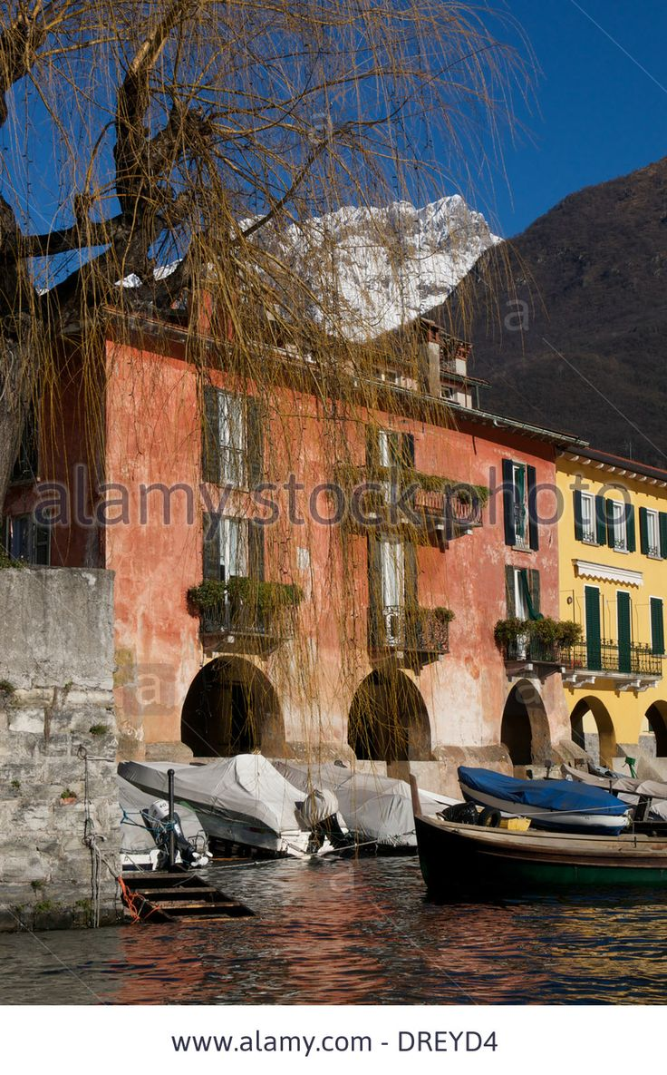 Old Houses,boats,lake Como,mandello Del Lario,italy Stock Photo, Picture And Royalty Free Image. Pic. 66097056