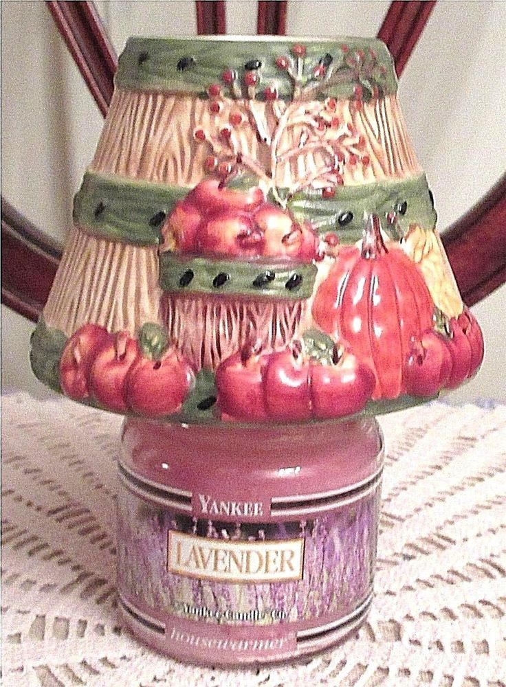 Yankee Candle Shade Topper Apple Basket Fall Pumpkin With Jar Lavender Candle #YankeeCandle